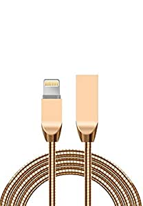 Margoun Tangle-Free Zinc Alloy Lightning Cable for iPhone 6, 6s in Gold