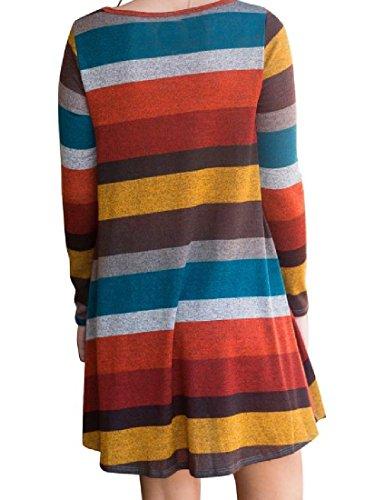 Lunga Girocollo Giallo Da Moda Righe Manica Vestito A Coolred donne Partito Hfq8Rtnw
