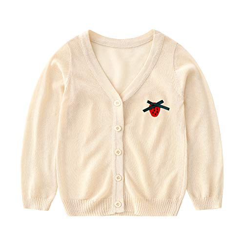 (Baby Girl Cardigan -Kids Knit Summer Sweater for Toddlers 36 Months Spring Clothes Warm Season Wear 3T Ultra Thin Coat (Beige, 2.5-3 Years))