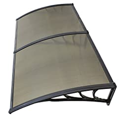 Garden and Outdoor ZENY 40″x 80″ Window Awning Canopy Overhead Door Awning Polycarbonate Cover Front Door Outdoor Patio Canopy Cover Sun Shetter,UV,Rain Snow Protection Hollow Sheet, Brown patio awnings