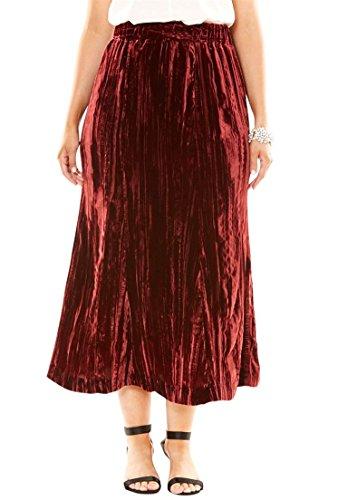 Denim Velvet Skirt (Roamans Women's Plus Size Pleated Velvet Skirt Brick Red,24 W)