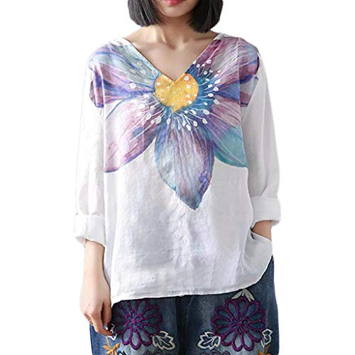 Yucode Women Floral Printed V-Neck Plus Size Tops Casual Tunic Tops Loose Flowy Blouse Pullover Shirts Purple]()