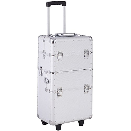 Giantex 3 in 1 Rolling Makeup Case Aluminum Salon Beauty Trolley Train Case Multifunctional Cosmetic Organizer with 2 Wheels (Silver)