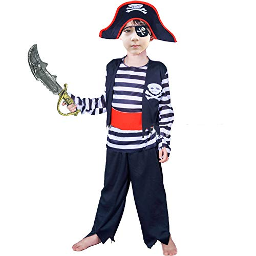 Boys Pirate Costume Children's Pirate Role Play Dress-up Set 4-6Y Black ()