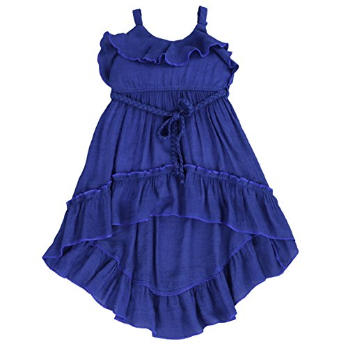 (LELEFORKIDS Toddlers and Girls Beach Beauty Ruffle High-Low Gauze-Cotton Dress in Midnight Blue 3T)