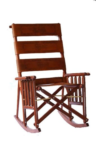 Leather Carved Rocking Chair ()