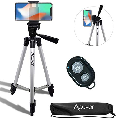 Acuvar 50 Inch Aluminum Camera Tripod with Universal Smartphone Mount + Wireless Remote Control Camera Shutter for iPhone Xs, Max, Xr, X, 8, 8+, Pixel 3, XL, Android Note 9, S9 & More Smartphones