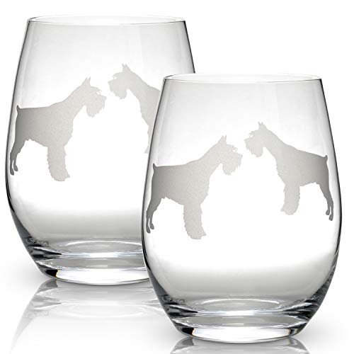 (Schnauzer Stemless Wine Glasses (Set of 2) | Unique Gift for Dog Lovers | Hand Etched with Breed Name on Bottom)