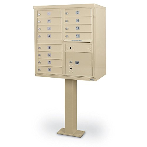 Security Box High Cluster - Universal 12-Door F-Spec Cluster Box Unit with Pedestal SandStone