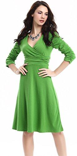 U-shot - Vestido de fiesta para mujer, escote de pico, diseño retro verde manzana