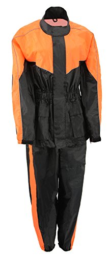 M-BOSS MOTORCYCLE APPAREL-BOS29601-BLK/NEON ORNG-Unisex's two piece motorcycle rain gear.-BLK/NEON ORNG-MEDIUM