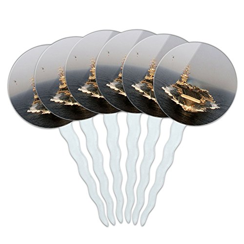 Set of 6 Cupcake Picks Toppers Decoration Guns Weapons Military - United States Navy Aircraft Carrier USS Eisenhower