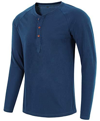 Satankud Mens Casual Loose Fit Long Sleeve Henley T-Shirts Cotton Shirts Blue XXL