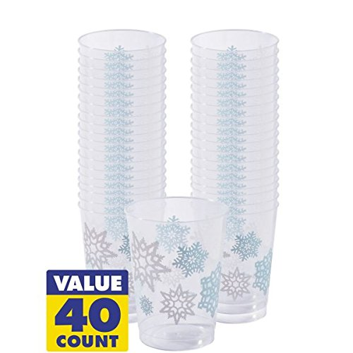 Amscan Snowflake Christmas Tumblers (40 Piece), Clear/Blue, 9 oz by Amscan