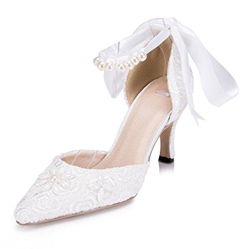 zapatos noche de Prom fiesta estilo bombas zms1521 Kevin encaje de boda marfil nbsp;Ladies D Orsay cinta de novia Fashion ZfqwAO