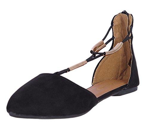 'Epic Step Women\'s T-Strap Micro Suede Dress Flats, Black, Size 9' (T-strap Ballet Shoes)