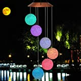 HAUSHION Solar Power Wind Chime Color-Changing Outdoor LED Solar Mobile Waterproof Six Balls Solar Powered Wind Chimes for Yard/Home/Party/Night/Garden/Festival Decor/Valentines Gift (White Ball) For Sale