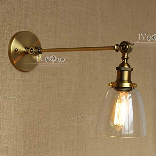 - TheMonday Vintage Wrought Iron E27 Wall Lamp,180 Degree Adjustable Industrial Retro Wall Light,Tranaparent Glass Lampshade Wall Sconce Lights,Ac 110~240V (Color : C)