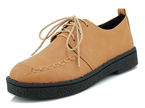 Women's Shoes Up Oxfords Dressy To Sole Round Simple Platform Lace Toe Work Aisun Office Thick Flat Wear Brown Rnqwada
