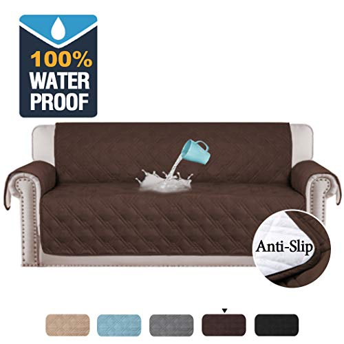 H.VERSAILTEX 100% Waterproof Extra-Wide Couch Cover for Dogs Non-Slip Oversized Sofa Covers for Leather Couch, Seat Width Up to 78 Inch Washable Furniture Protector (Sofa X-Large: Brown)