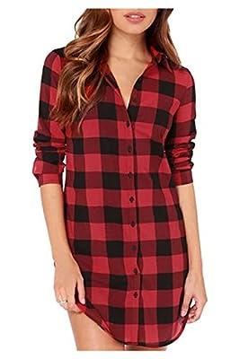 Kumer Women's Plaid Shirt Loose Long Sleeve Casual Long Button Down Shirt Top Blouse