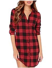 Women's Plaid Shirt Buffalo Plaid Long Tunic Loose Long Sleeve Casual Button Down Shirt Top Blouse