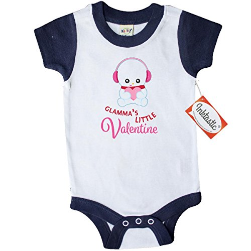 Inktastic Unisex Baby Glamma's Little Valentine Snowman Holding a Pink Heart Infant Creeper 6 Months White and (Snow White Outfit Ideas)