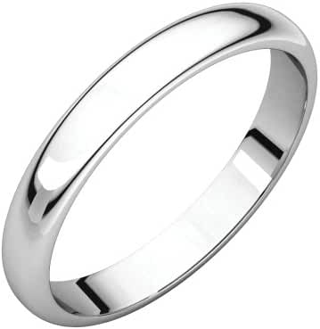 Platinum 3mm Half Round Band, Ring Size 7
