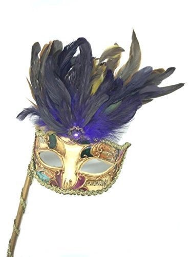 [Venetian Mysterious Musical Mardi Gras Masquerade Mask w/ Purple Feather and Stick] (Feather Mask With Stick)