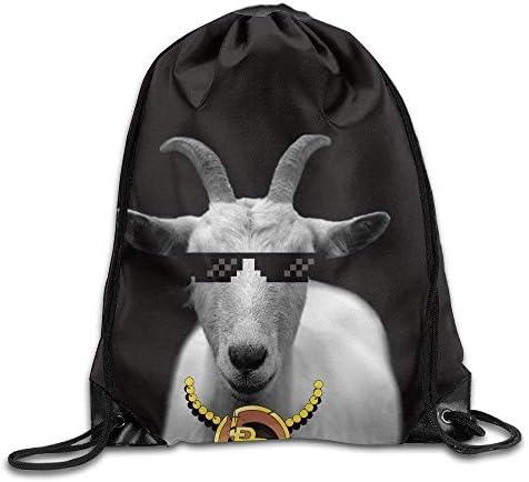 Sporttaschen Turnbeutel Funny Goat Animal Horns Black and Print Drawstring Backpack Rucksack Shoulder Bags Gym Bag Sport Bag Fashion