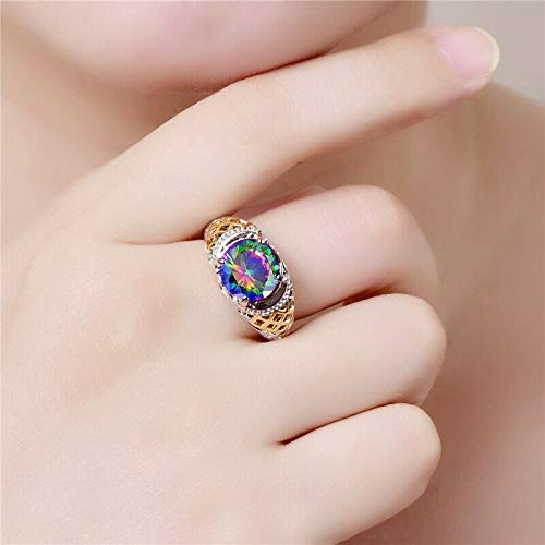 The Sun Jewelry Vintage Round Rainbow Calsilica Gemstone Rings for Women Silver Jewelry Size 6-9 7
