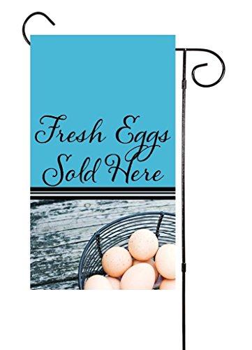 "Cheap Unique Textile Printing Farm Fresh Eggs Sold Here Chicken Garden Flag 12""x18"""