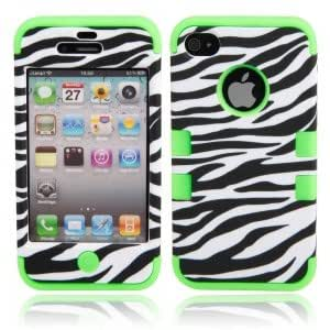 Zebra Grain Protective Silicone Hard Case Cover for iPhone 4/4S Green