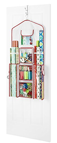 "Whitmor Gift Wrap Organizer – Space Saving and Storage Solution for Wrapping Paper, Ribbons, Craft Supplies and More – Can Hold 40"" Rolls of Gift Wrap – 4 Extra Pockets and Sturdy Hanging Hook"