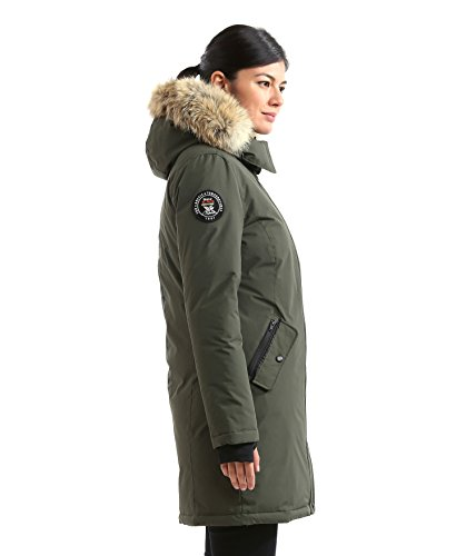 Triple F.A.T. Goose Alistair Womens Hooded Arctic Parka With Real Coyote Fur (Medium, Olive) by Triple F.A.T. Goose (Image #3)