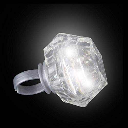 Fun Central AI670 24 Pieces LED Light Up Princess Cut Diamond Bling Rings, Light Up Diamond Rings, LED Diamond Bling Rings Bulk, LED Glowing Princess Cut Diamond Ring