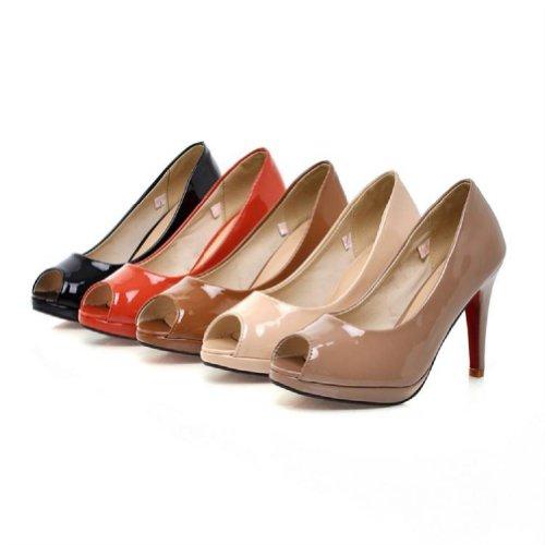 Gloednieuwe Mode Dames Platform Pump Hoge Hakken Peep Toe Sandalen Schoenen Zwart