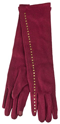 Long Red Nylon Gloves (True Gear North Long Full Length Wool Women's Winter Gloves works with Touch Screens (Red))