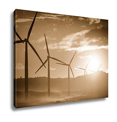 Ashley Canvas Wind Turbine Power Generators Silhouettes At Ocean Coastline At Sunset, Wall Art Home Decor, Ready to Hang, Sepia, 16x20, AG5858548 by Ashley Canvas (Image #6)