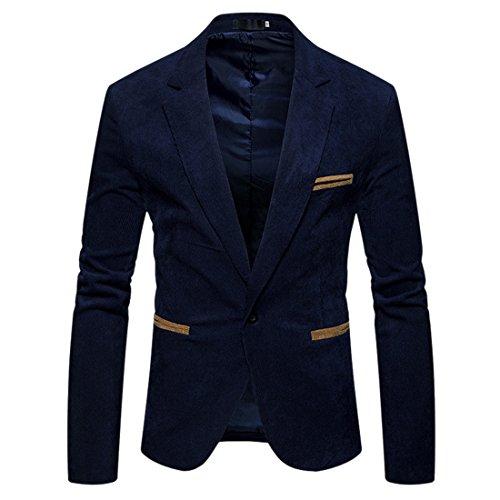 Hommes Travail Veste Un 76 z Qiyun Bouton Bleu Manteau Marine De Blazer Fit Slim Occasionnel Costume wa7npqS4xn