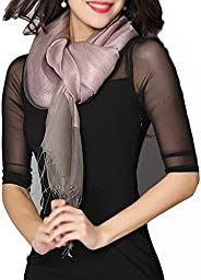 LJHA Scarf, Female Spring and Autumn Winter Silk Scarf Solid Color Scarf Shawl Long Paragraph Dual-use Shawl T
