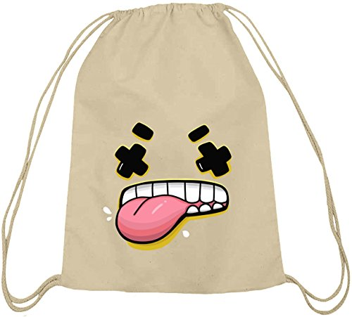 ShirtStreet Lustiger Cartoon Emoji natur Turnbeutel mit Funny Faces - Yuck Motiv Natur qwUTSw