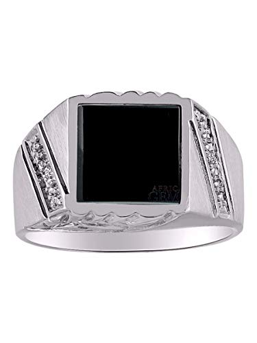 RYLOS Designer Ring With Diamonds and Genuine Black Onyx Set in Sterling Silver Silver .925
