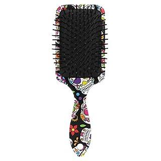 Day Of The Dead Sugar Skull Hair Brush Plastic Detangling Brushes Natural Detangler Paddle Hairbrush for Women Men Kids Stimulate Scalp Help Growth Add Hair Shine