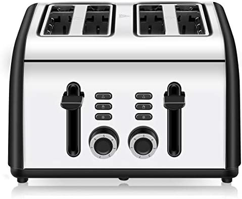 Toaster 4 Slice, CUSINAID 4 Wide Slots Stainless Steel Toasters with Reheat Defrost Cancel Function, 7-Shade Setting, Black