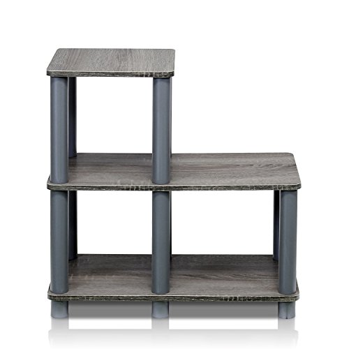 Oak Wide Side Table - Furinno 14032GY/GY Turn-N-Tube Accent Decorative Shelf, French Oak/Grey