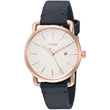 Fossil Women's 'Commuter' Quartz Stainless Steel and Leather Casual Watch, Color:Blue (Model: ES4334)