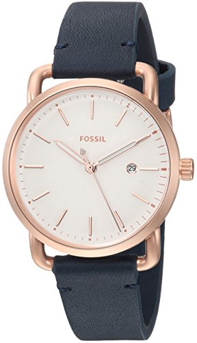 Fossil Women's 'Commuter' Quartz Stainless Steel and Leather Casual Watch, Color Blue (Model: ES4334)