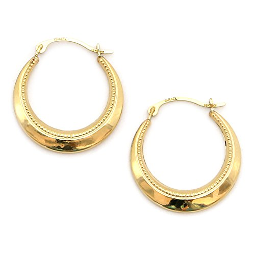 10k Yellow Gold Dotted Hoop Earrings (Dotted Hoop)