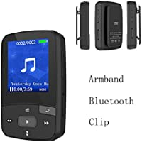 CFZC Bluetooth Clip 8GB MP3 Player Sport MP4 Lossless Sound Music Player with FM Radio Pedometer-Expandable Micro SD Card to 64GB-Black